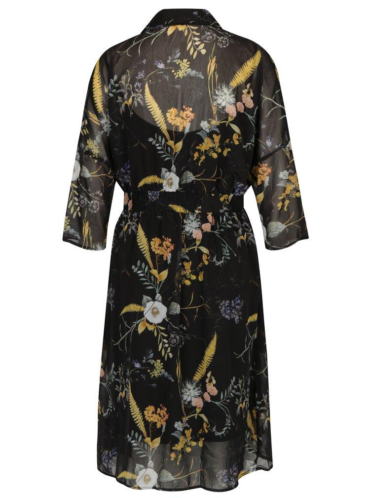 Černé květované zavinovací šaty ONLY Katrine