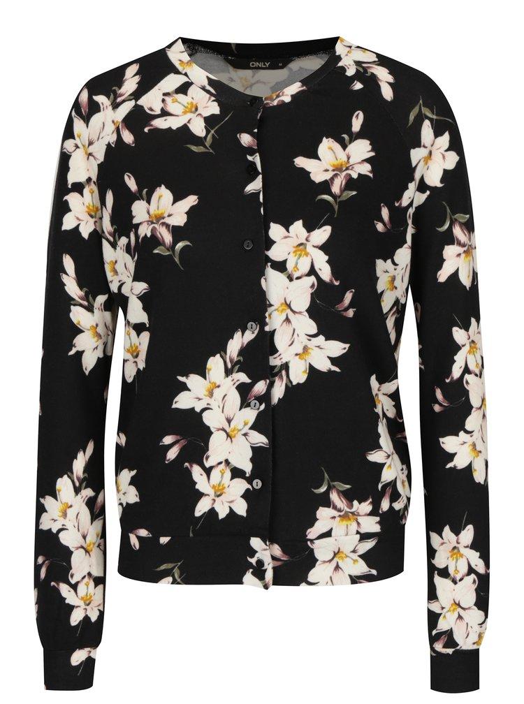 Cardigan negru cu model floral ONLY Elcos
