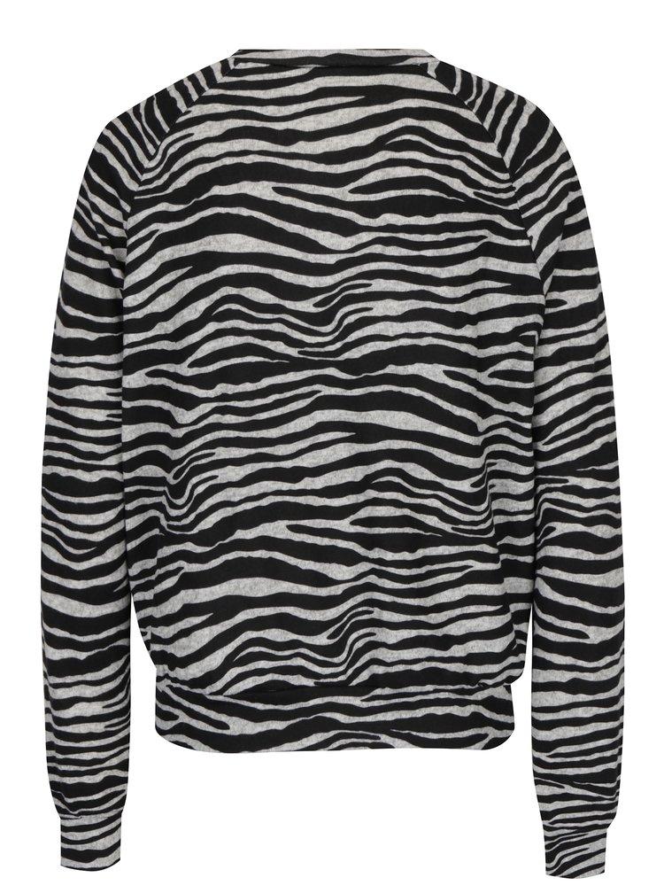 Černo-šedý žebrovaný lehký svetr ONLY Elcos