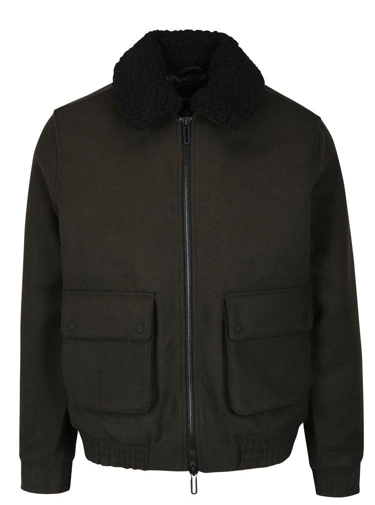 Khaki zimní vlněná bunda s umělou kožešinou ONLY & SONS Simon