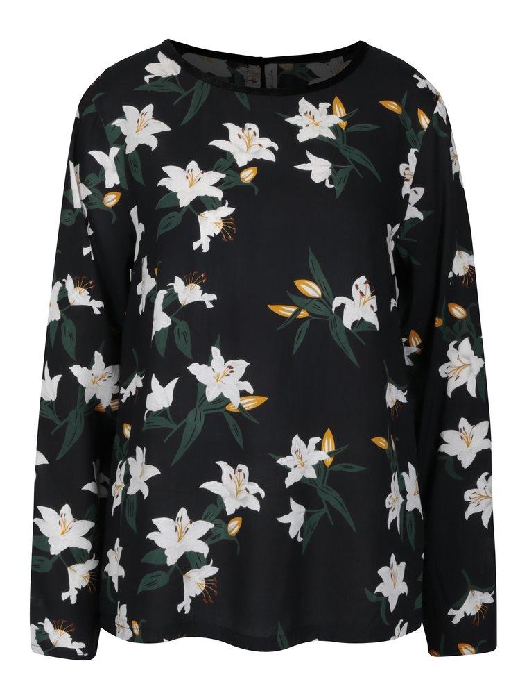 Bluza neagra cu print floral si nasturi la spate -  Blendshe Johanna