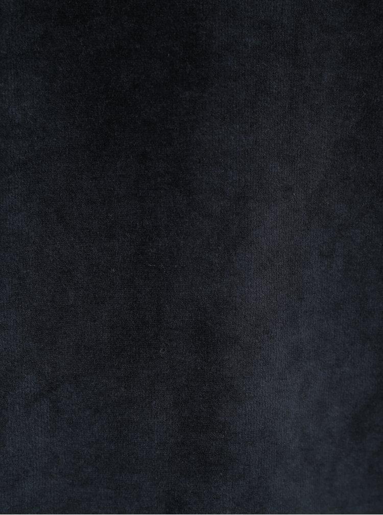 Tmavě modrá mikina v sametové úpravě ONLY & SONS Theo