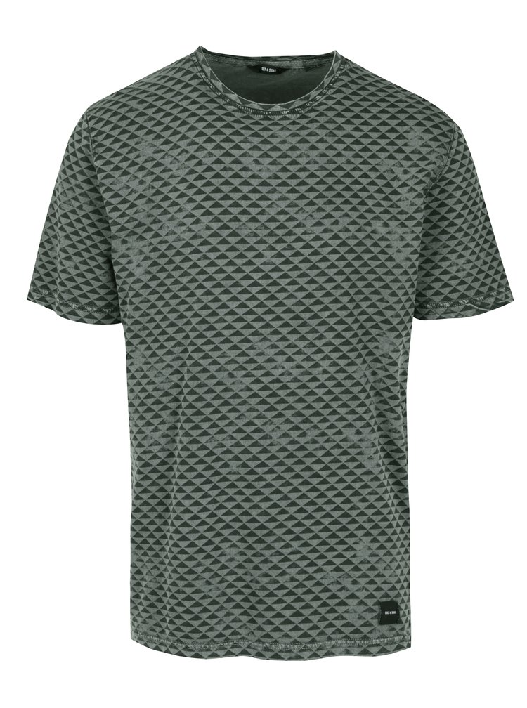 Černo-zelené vzorované tričko ONLY & SONS Merlin
