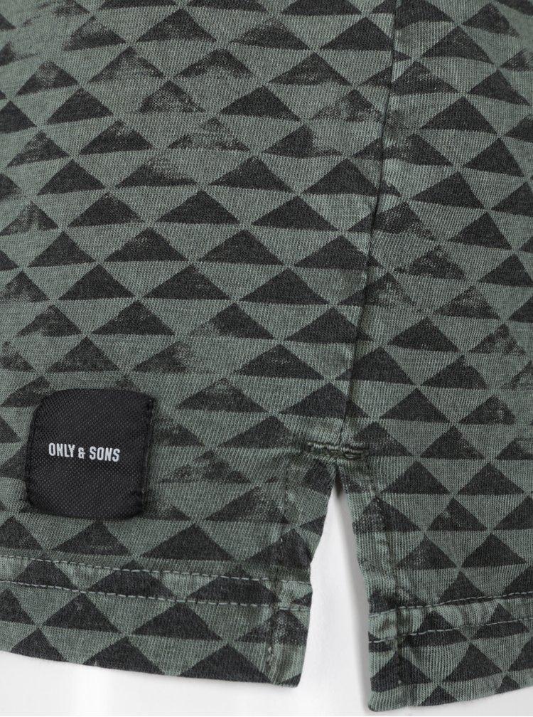 Tricou negru&verde cu print - ONLY & SONS Merlin