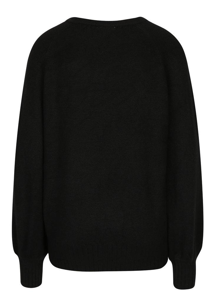 Černý svetr s balónovými rukávy Jacqueline de Yong Mellow