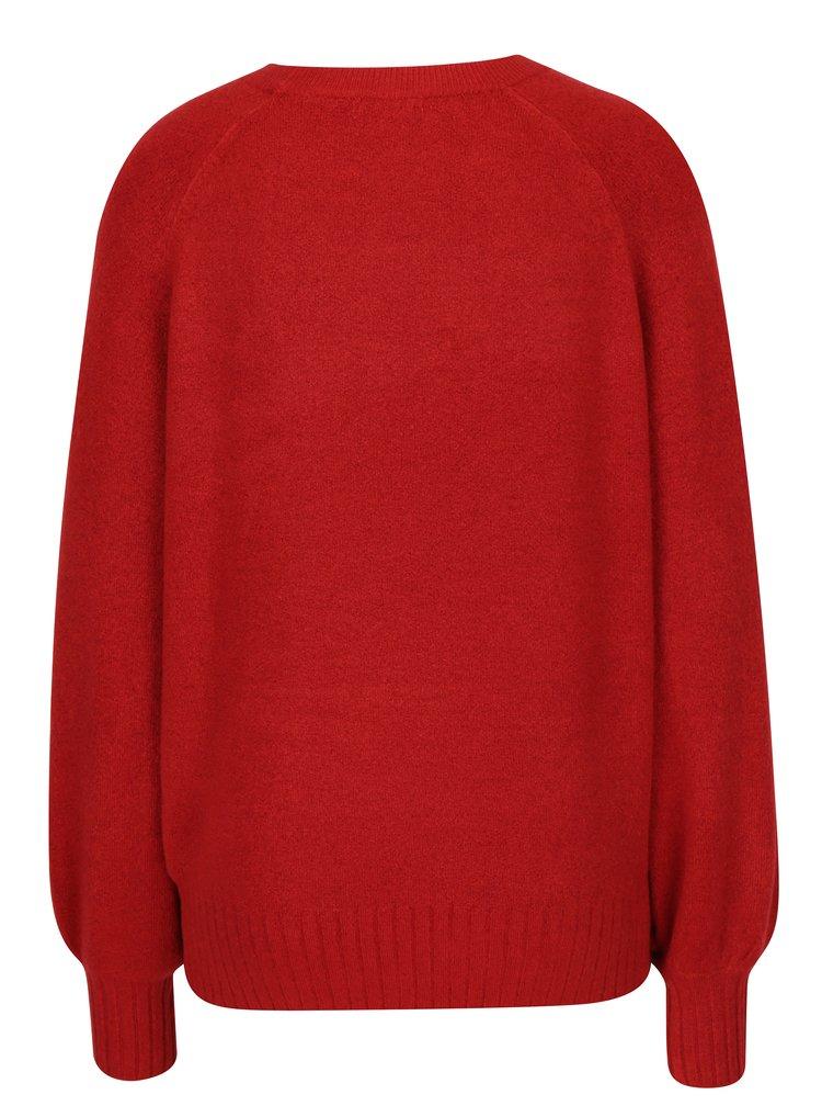 Červený svetr s balónovými rukávy Jacqueline de Yong Mellow