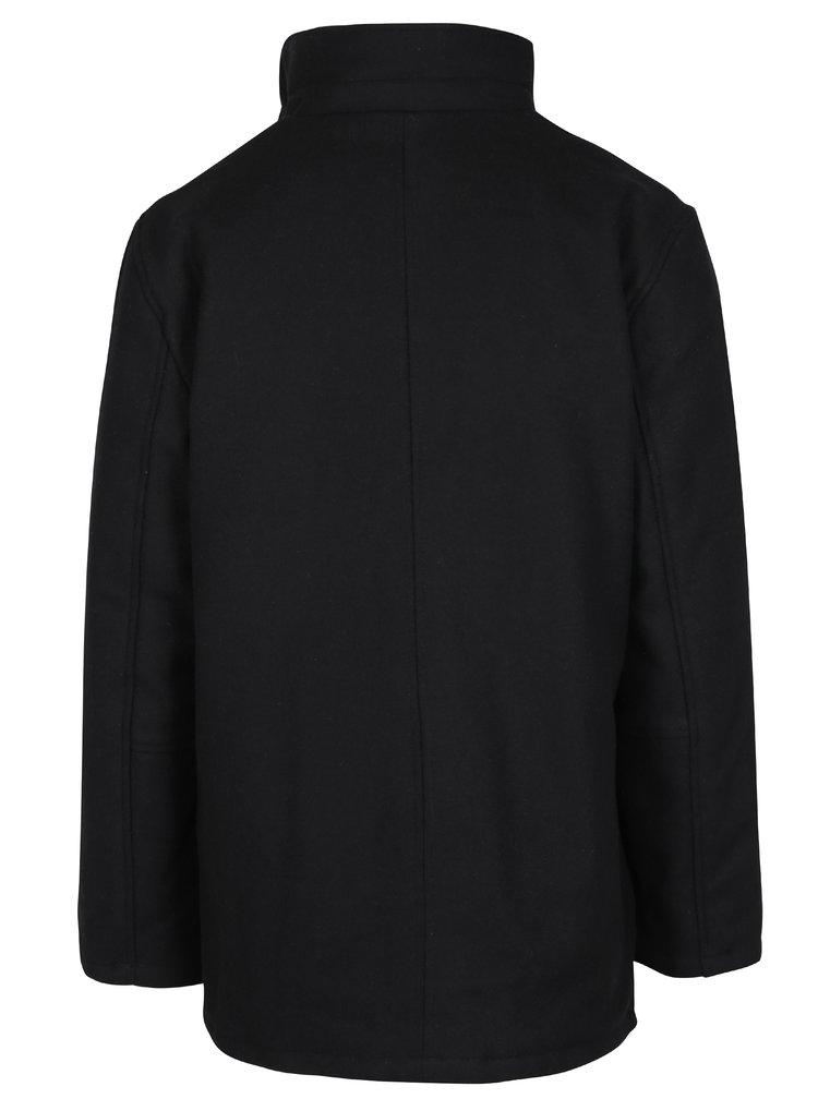 Palton negru din amestec de lana Seven Seas Harrison