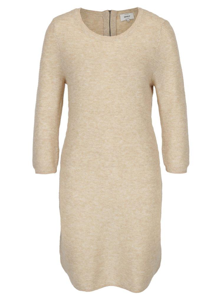 Béžové svetrové šaty s 3/4 rukávem ONLY Filippa