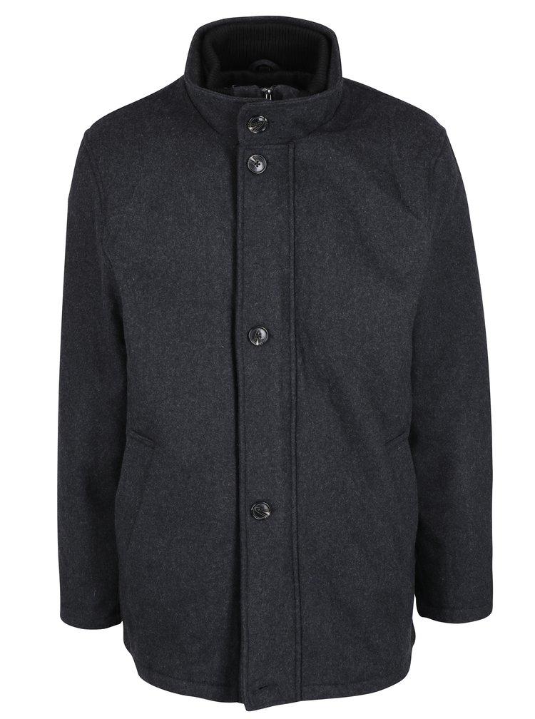 Palton gri inchis din amestec de lana Seven Seas Harrison