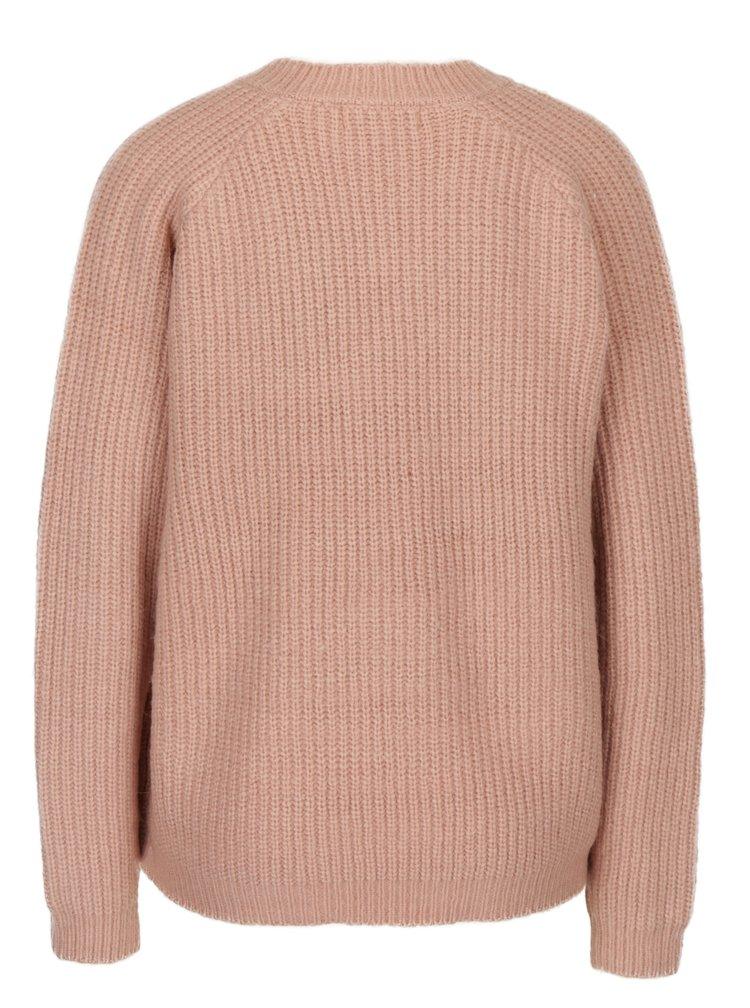 Pulover tricotat roz deschis cu decolteu anchior - Blendshe Khloa