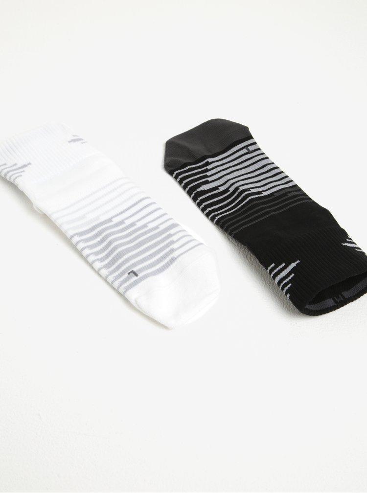 Sada dvou černých a bílých dámských běžeckých ponožek Nike