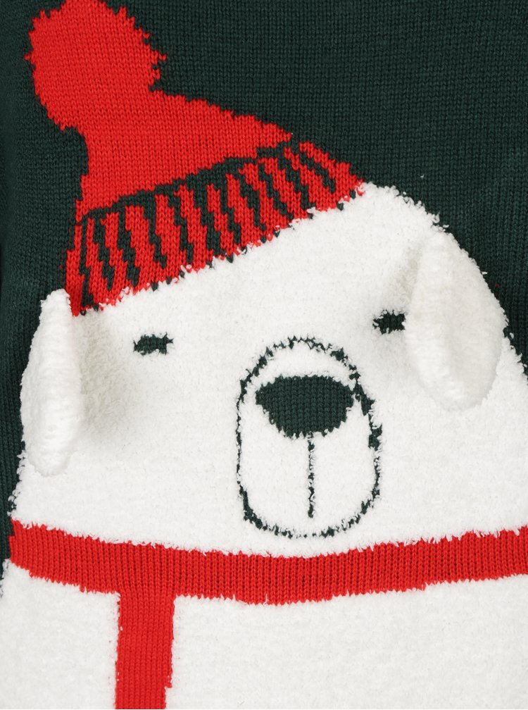 Pulover verde inchis cu model urs polar ONLY Polar Bear