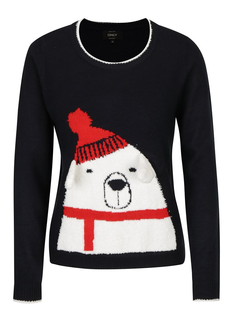 Tmavě modrý svetr s motivem medvěda ONLY Polar Bear