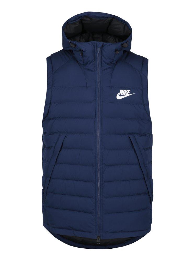 Modrá pánská prošívaná péřová vesta s kapucí Nike Sportswear Down