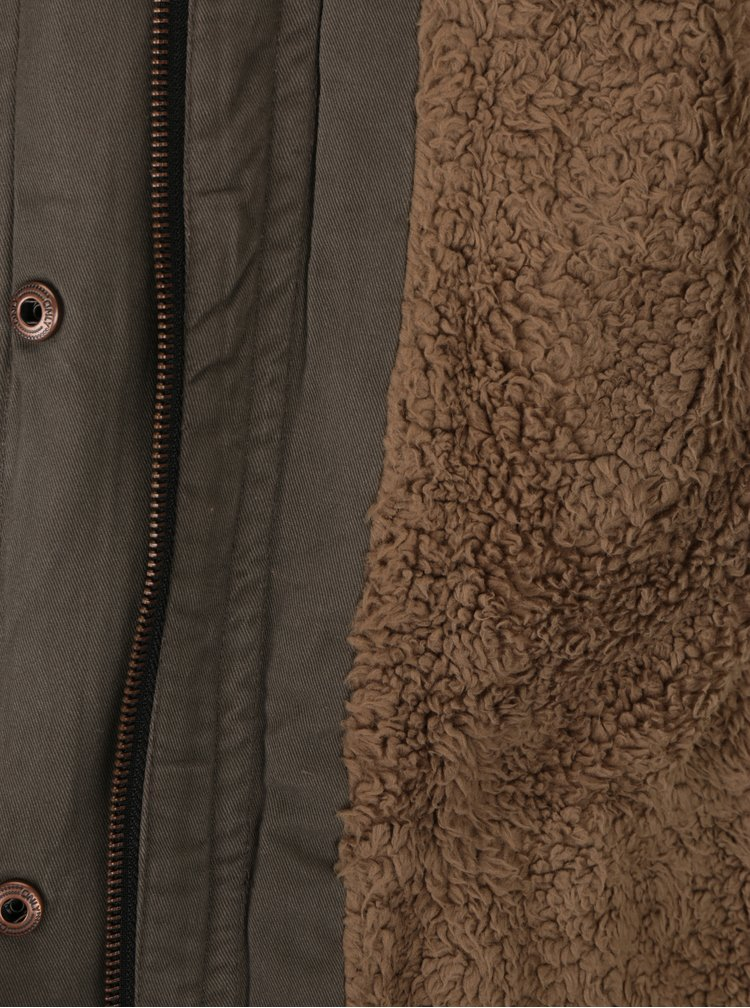 Khaki parka s kapucí ONLY Leeona
