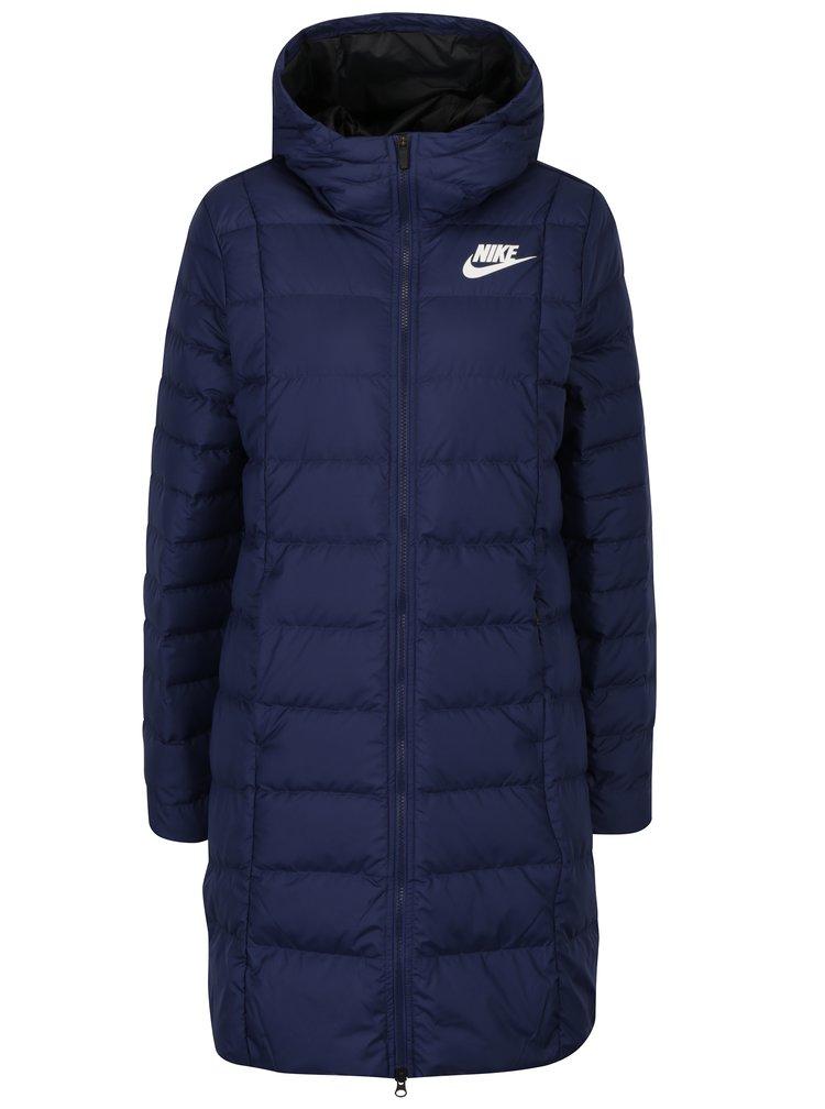 Modrý dámský zimní péřový prošívaný kabát Nike Sportswear Fill