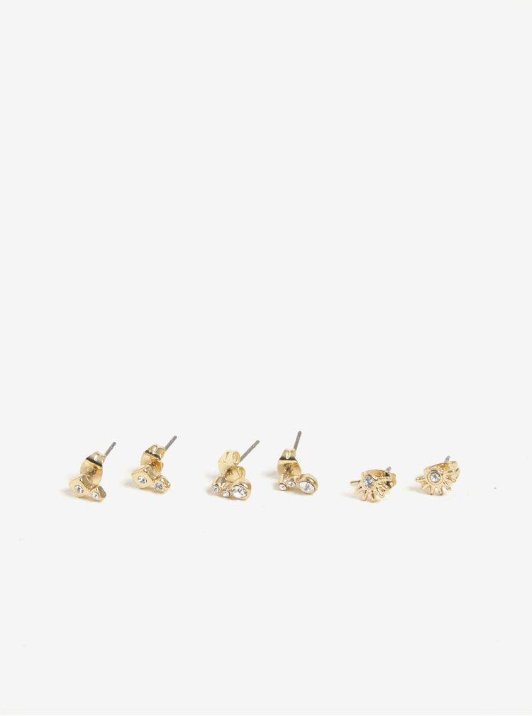Set de 3 perechi de cercei aurii - Pieces Ronni