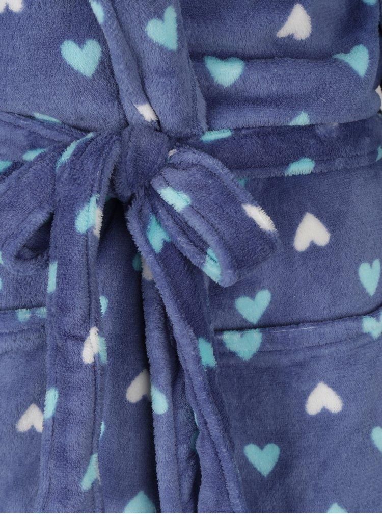 Halat de baie albastru&alb cu print inimi M&Co