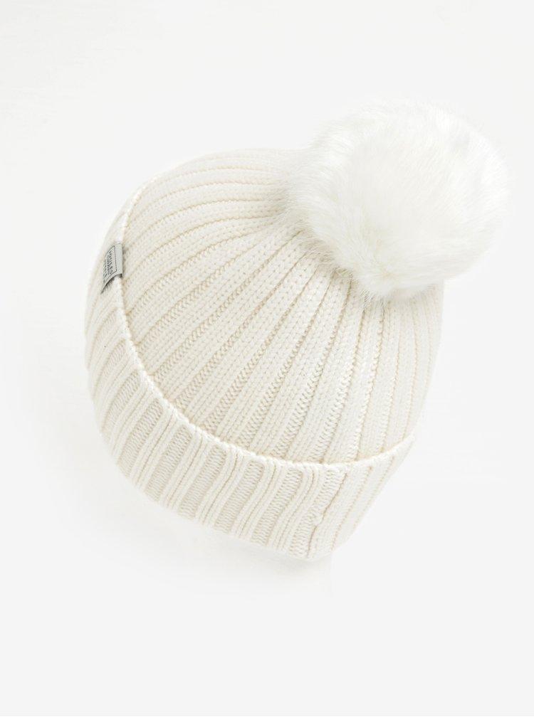 Krémová dámská čepice s bambulí Tom Joule Pom