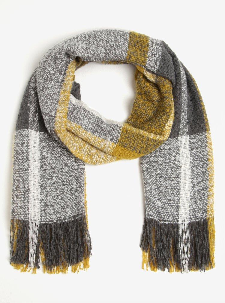 Fular gri&galben mustar in carouri cu franjuri M&Co