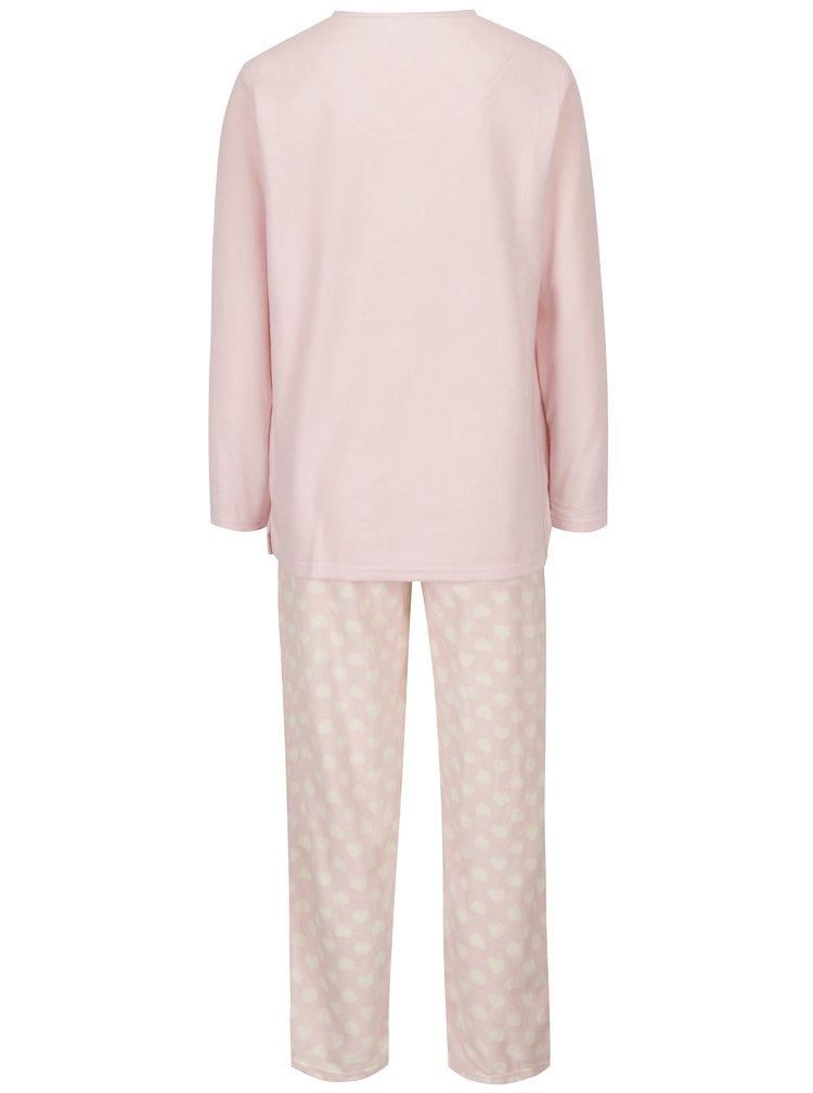 Světle růžové dámské dvoudílné pyžamo s motivem sovy M&Co