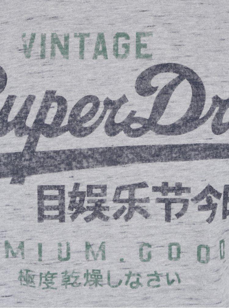 Tricou gri melanj cu print pentru barbati - Superdry Premium