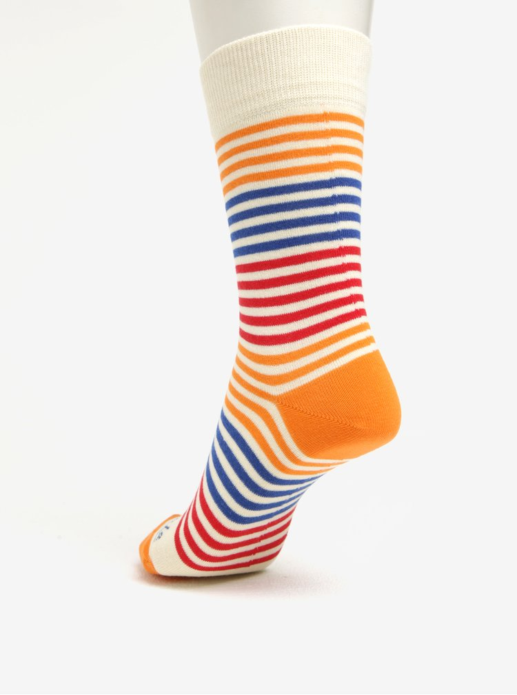 Sosete unisex crem cu dungi multicolore - Fusakle Páskavec
