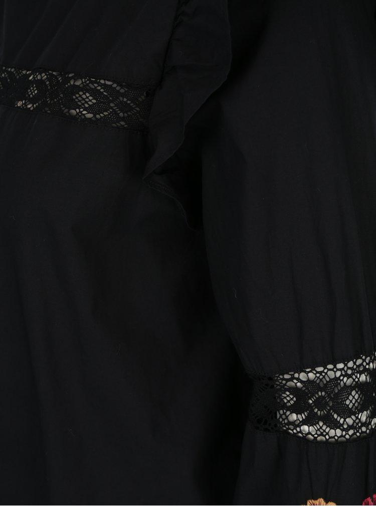 Černá halenka s výšivkami na rukávech Miss Selfridge