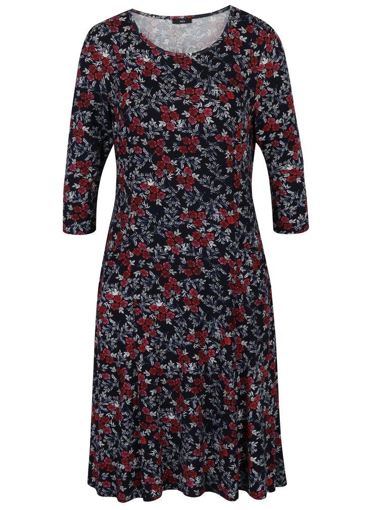 Tmavě modré květované šaty s 3/4 rukávy M&Co