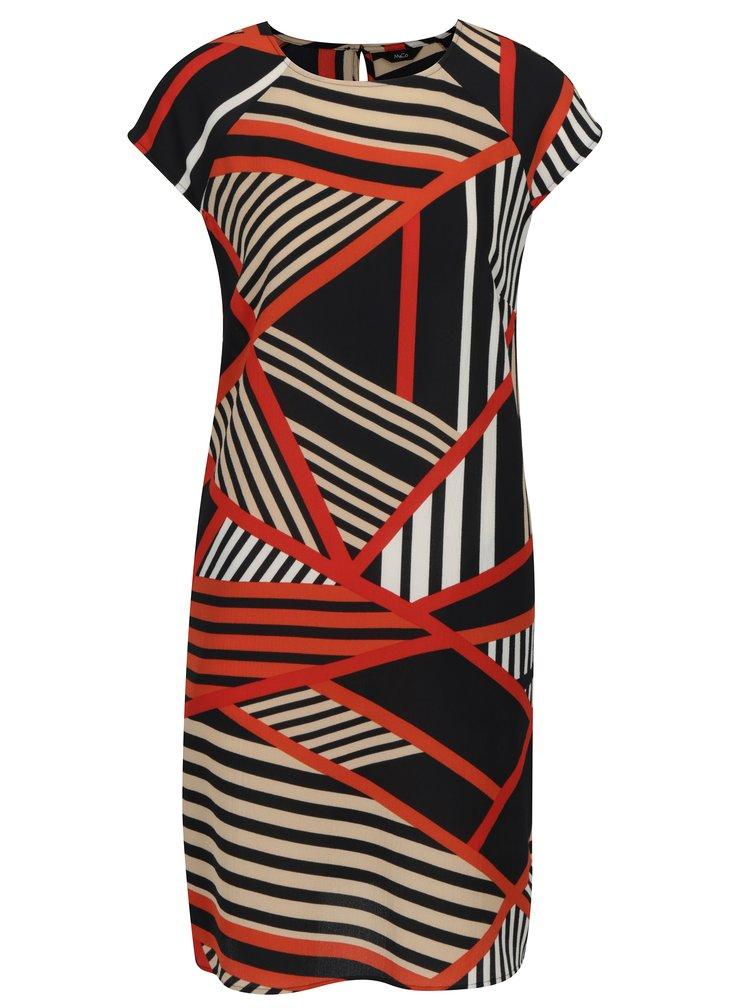 Rochie dreapta albastru inchis&rosu cu print geometric M&Co