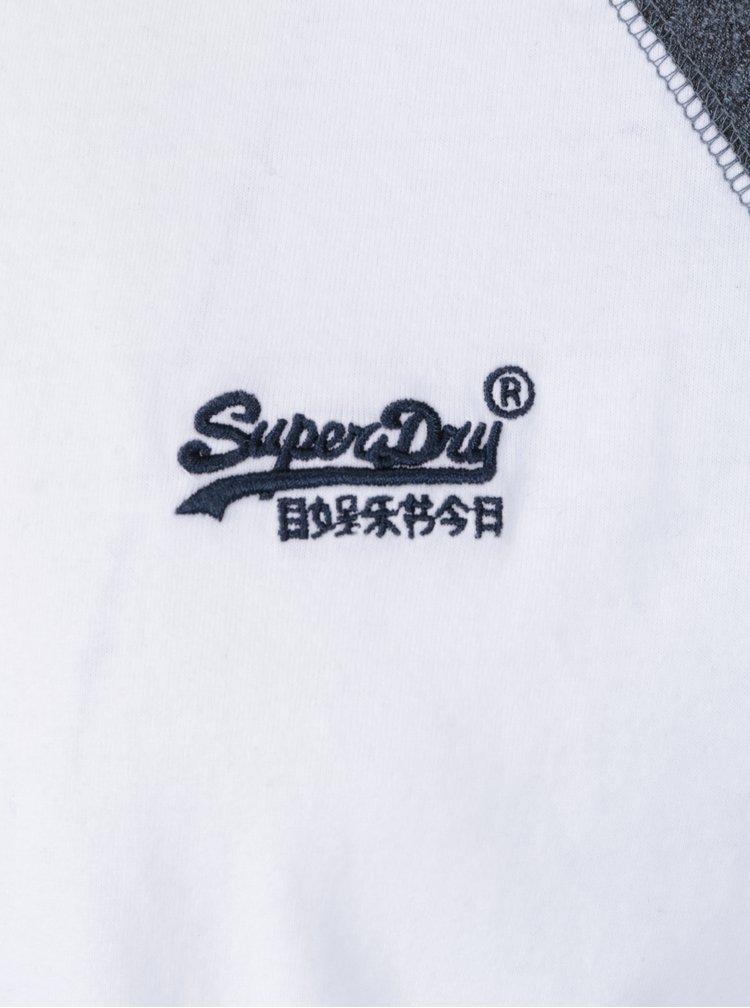 Bluza din bumbac alb & albastru cu maneci raglan si logo brodat - Superdry Orange