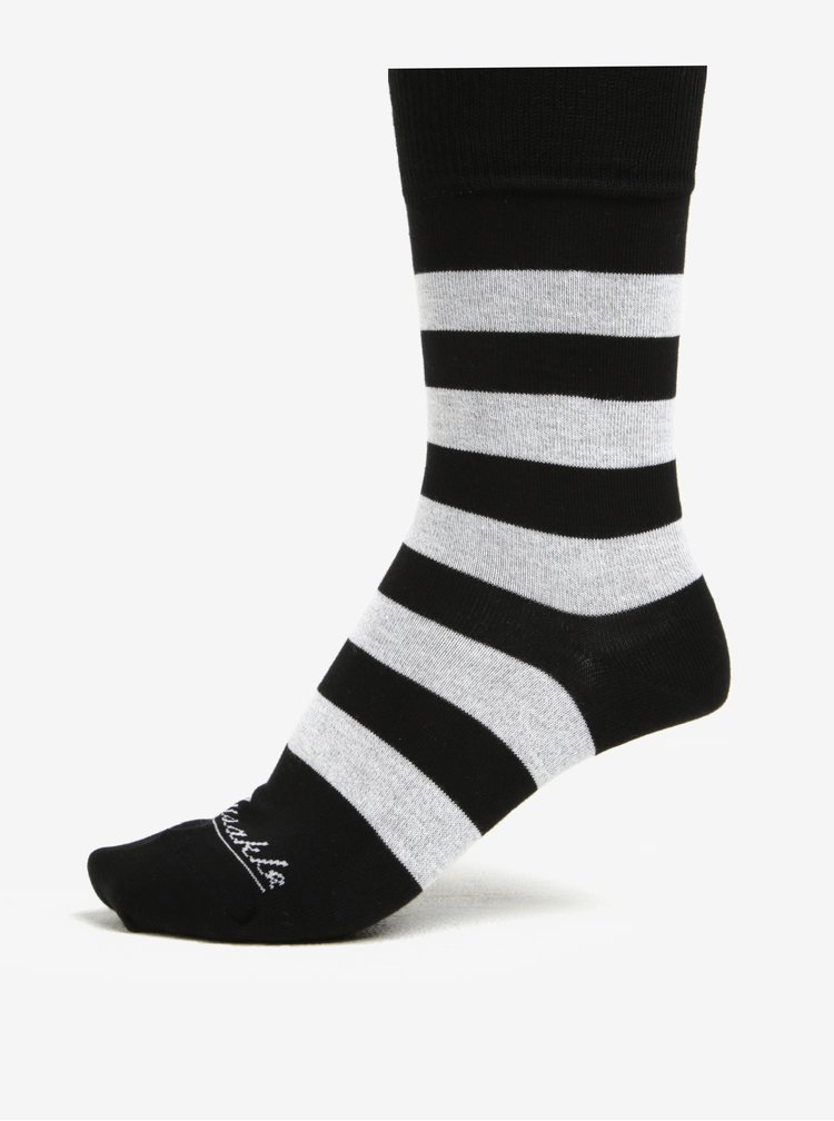 Sada dvou unisex ponožek s pruhy a puntíky Fusakle Guľkopásik ČB