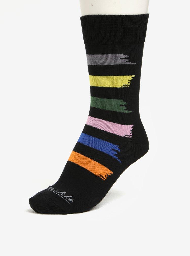 Černé unisex ponožky s barevnými pruhy Fusakle Machuliar