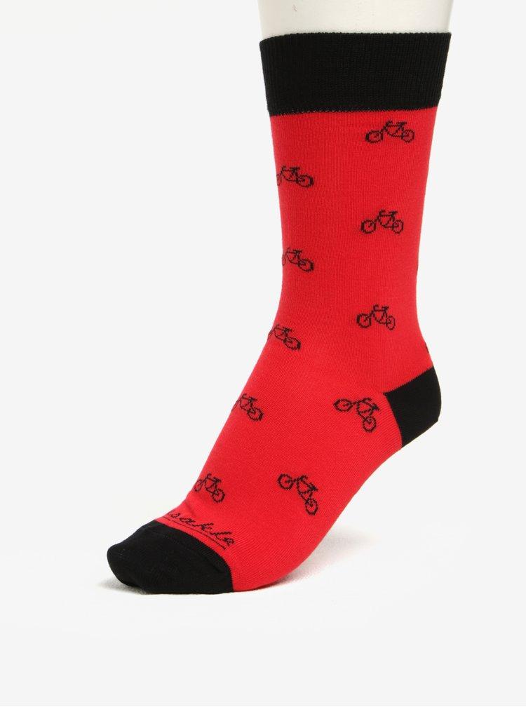Červeno-černé unisex ponožky s motivem bicyklů Fusakle Cyklista