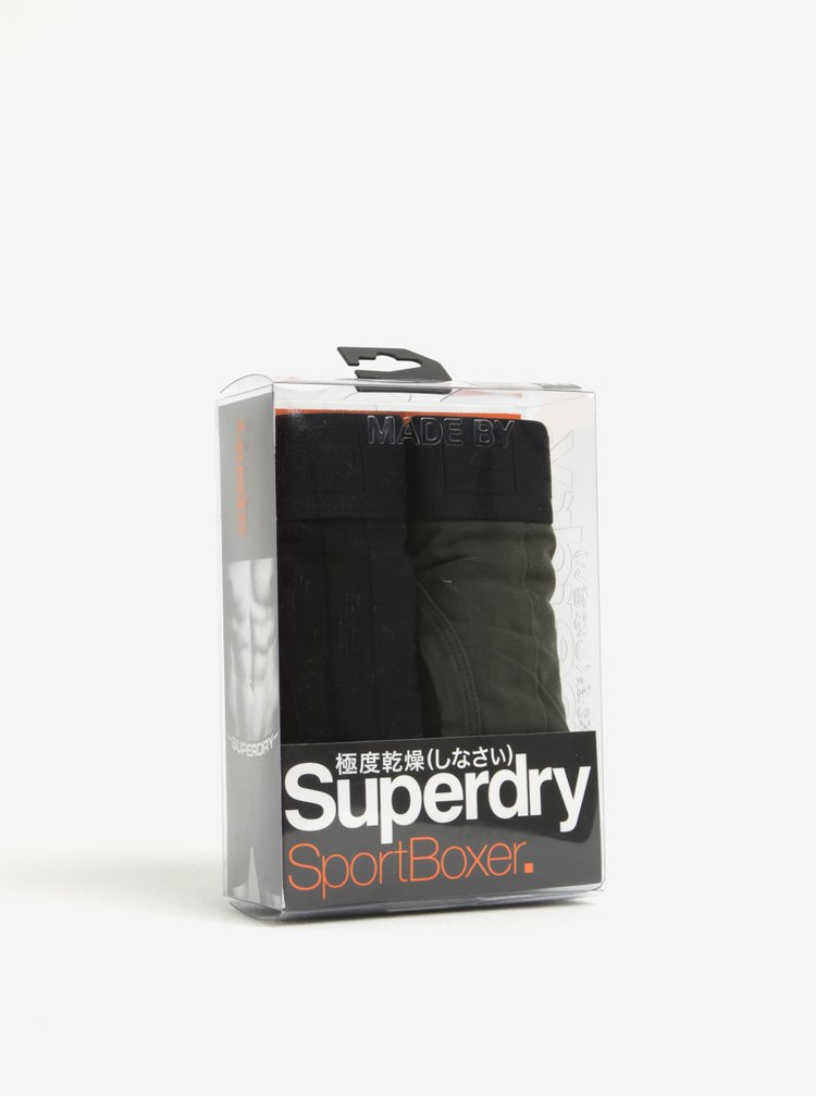 Set de 2 perechi de boxeri kaki & negru cu talie elastica si logo - Superdry Sport