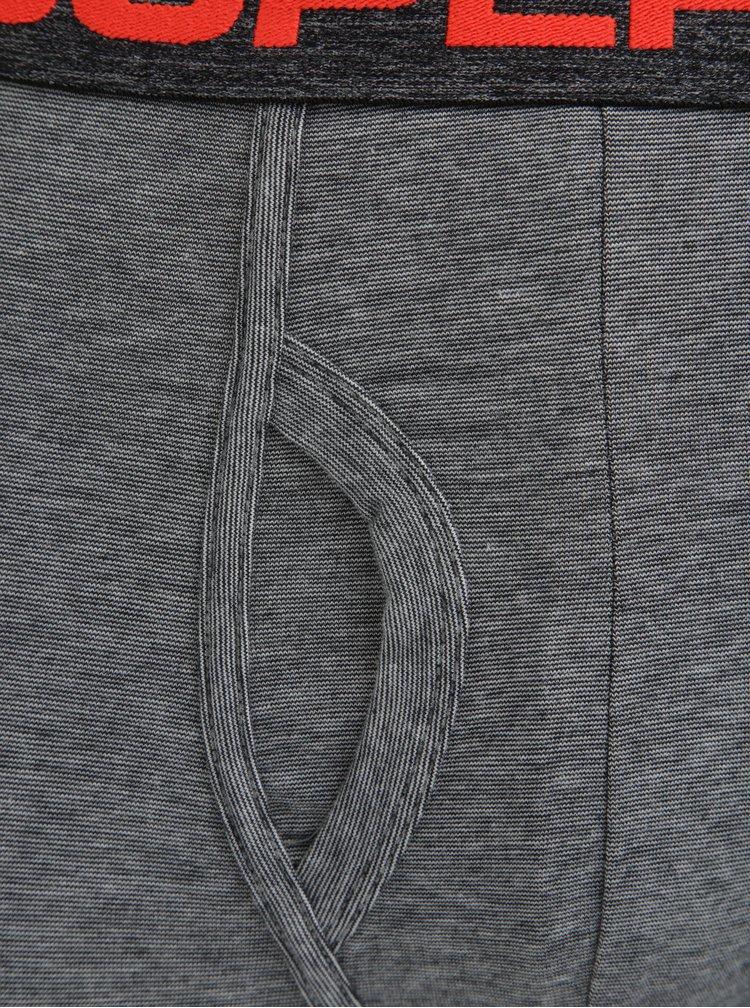 Set de 2 perechi de boxeri gri & negru cu logo in talie - Superdry Sport