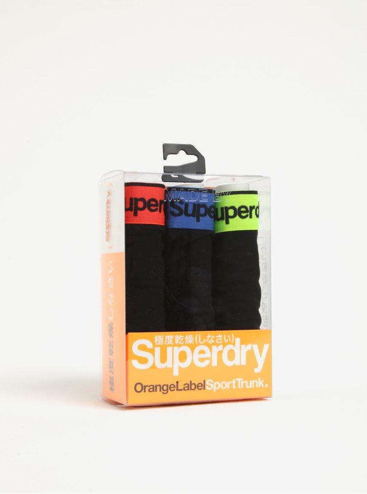 Sada tří černých boxerek Superdry O.L Sport