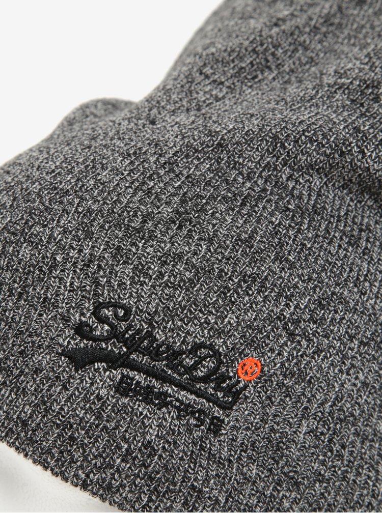 Caciula gri melanj cu logo brodat pentru barbati - Superdry Orange