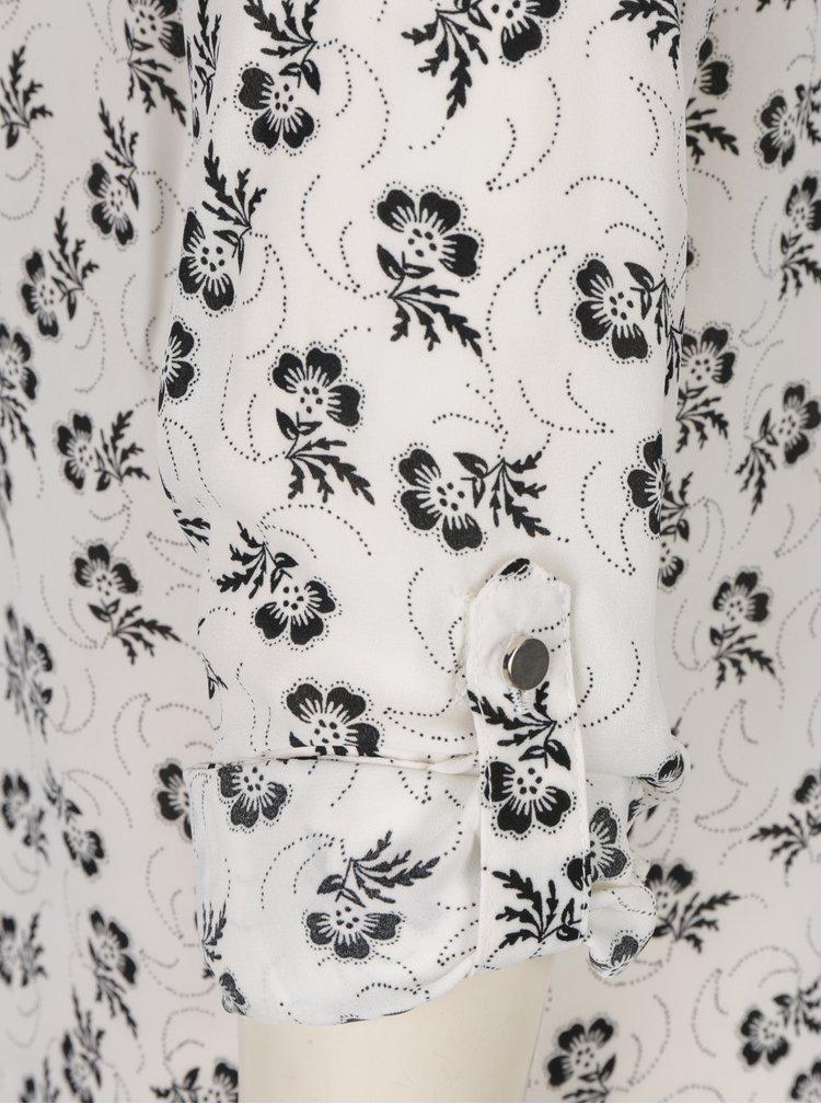 Bluza crem&negru cu print floral M&Co