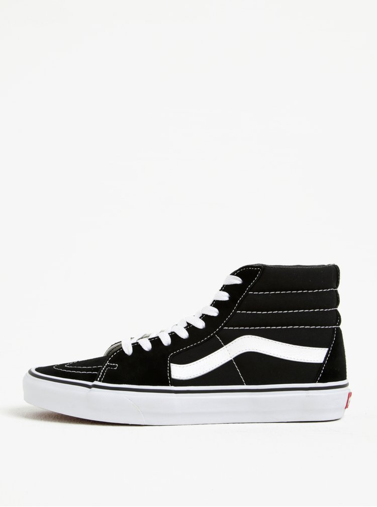Černo-bílé pánské semišové kotníkové tenisky VANS SK8-Hi