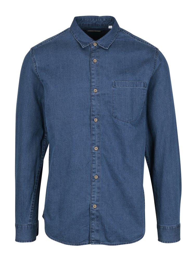 Camasa slim fit din denim albastru cu buzunar - ONLY & SONS Tonni
