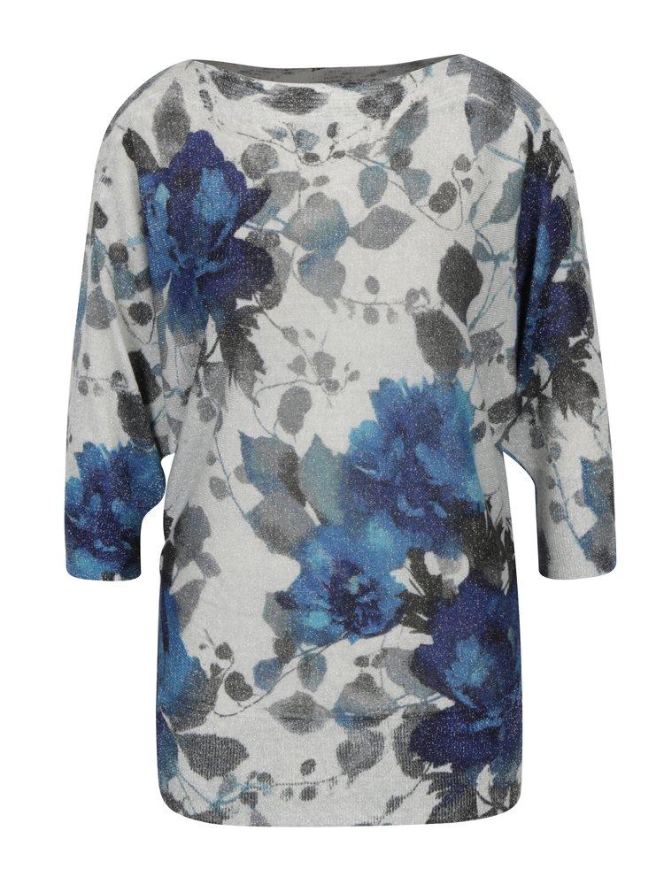 Pulover gri deschis&albastru cu print floral si maneci 3/4 liliac M&Co