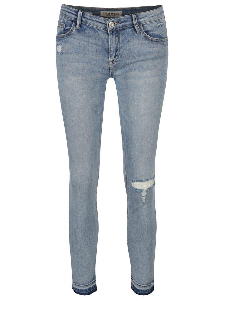 Světle modré zkrácené skinny džíny s nízkým pasem TALLY WEiJL