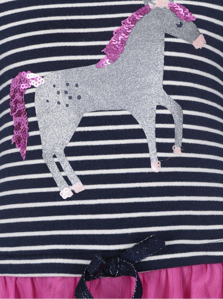 Růžovo-modré holčičí šaty s pruhovaným topem Tom Joule