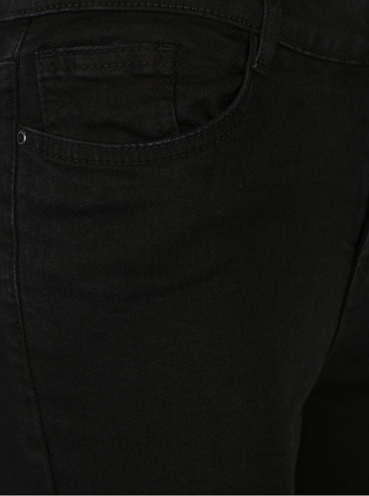 Černé slim džíny s výšivkami květin a vysokým sedem M&Co
