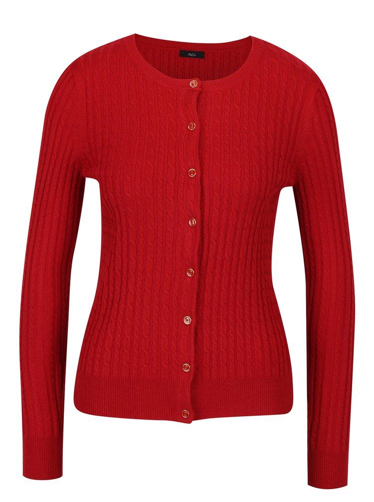 Červený dámský vzorovaný kardigan M&Co