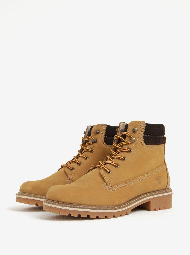 Svetlohnedé kožené členkové topánky Tamaris