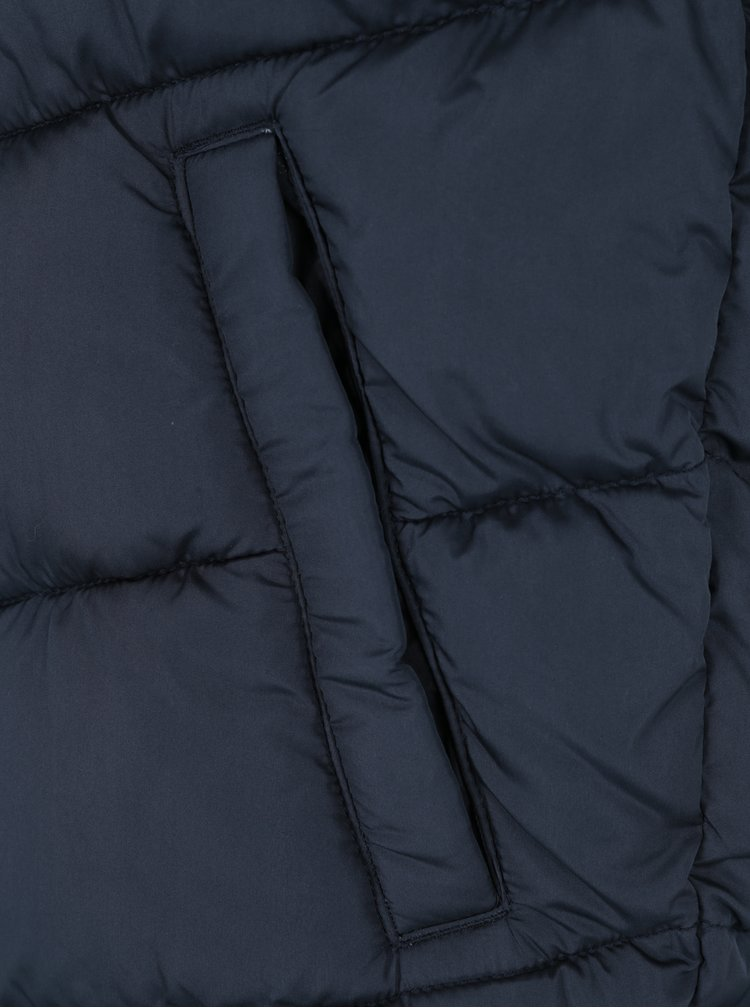 Tmavě modrá prošívaná vesta s kapucí Jack & Jones Landing