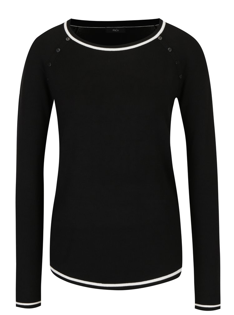 Pulover negru&crem cu nasturi decorativi M&Co