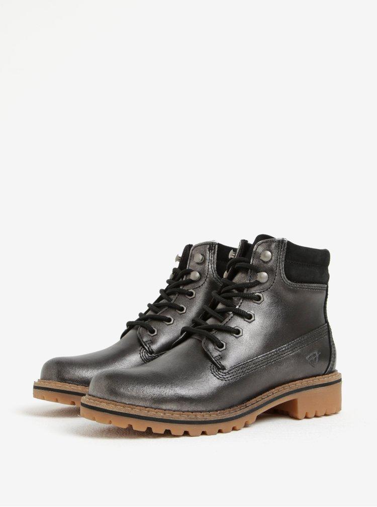 Tmavě šedé metalické kožené kotníkové boty Tamaris